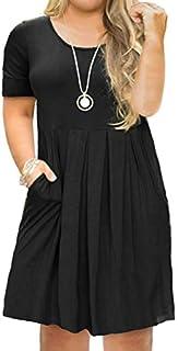 FOLUNSI Women's Plus Size Casual Short Sleeve/Long Sleeve Pleated T Shirt Dress with Pockets