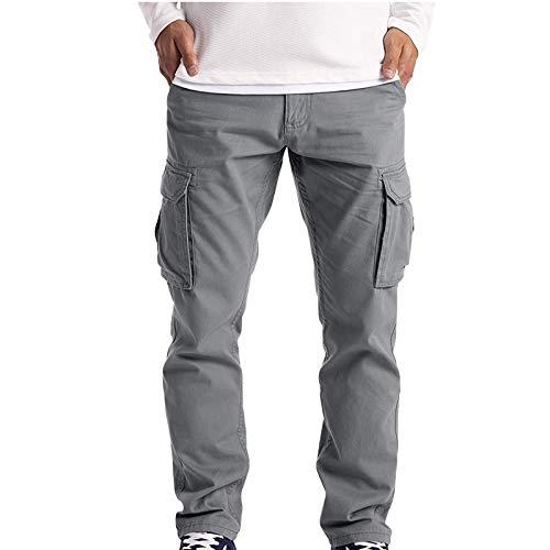 Herren Cargohose Cargo Trousers Work Wear Combat mit 6 Taschen | Lange Regular Fit Cargo Chino Hose Baumwollhose Chinohose Freizeithose Stoffhose aus Stretch Material für Männer (Grau, M)