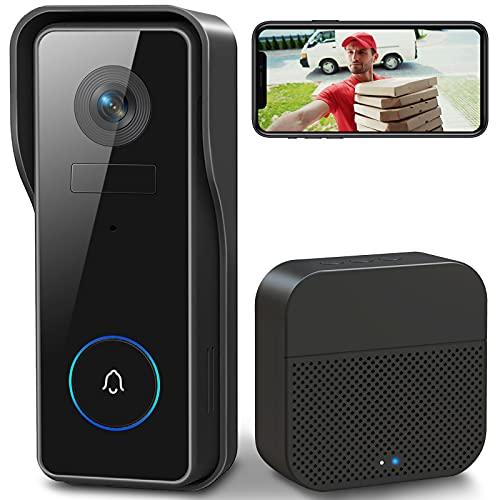 WLAN Video Türklingel mit Kamera , XTU 1080P HD Kabellose Video Doorbell mit Gong, Smarte Türklingel mit Akku, PIR Personenerkennung, Nachtsicht, 2-Wege-Audio, Unterstützt SD & Cloud-Speicher