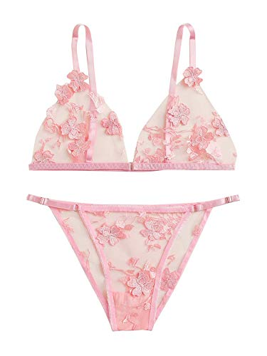 SheIn Women's 2 Piece Sexy Appliques Tanga Mesh Bralette Bra and Thongs Lingerie Set Pink Large