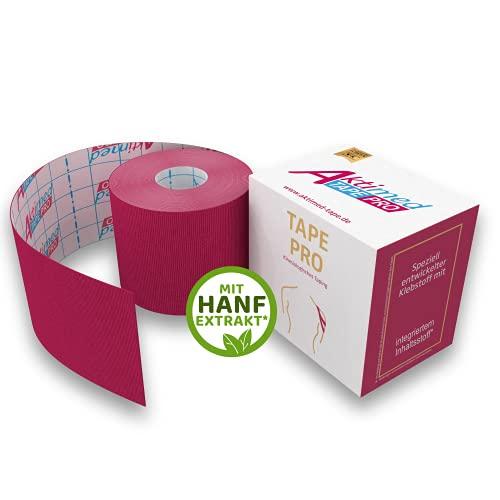 "AKTIMED Tape CannaPro Kinesiologie Tape – Sporttape mit synthetischem Hanf-Extrakt – patentbasiertes Physiotape Dermatest ""sehr gut"" – Kinesiologie Tapes elastisch & wasserfest (Pink)"