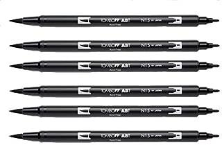 Tombow Dual Brush Pen, Black (66621) Pack of 6 pcs.