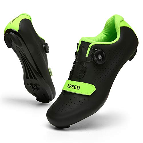 SANYES Men's Cycling Shoes Breathable Road Bike Mountain Bike SPD/SPD-SL Compatible Peloton Bike Indoor Spin Shoes SYQXX-Black-47