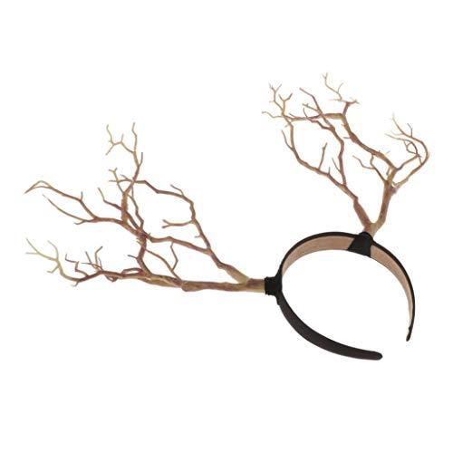Baoblaze Arbre Retro Vintage Serre-tête, Prop Coin Corne Accessoires Cheveux, Cosplay Party De Noël Chapeaux Accessoires - Naturel
