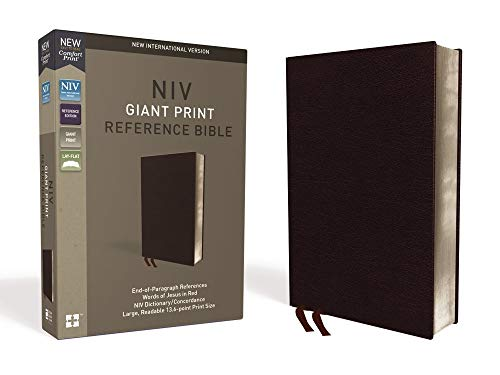 NIV, Reference Bible, Giant Print, Bonded Leather, Burgundy, Red Letter, Thumb Indexed, Comfort Print