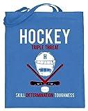 Juguete genérico de hockey – Triple Threat – Skill Determination Toughness – deporte – Bolsa de yute (con asas largas), color Azul, talla 38cm-42cm