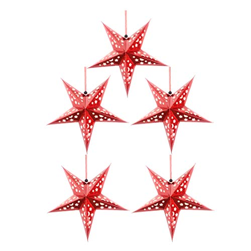 VALICLUD 5 Unids Papel Estrella Linterna Pantalla para Luz Led 3D Techo Centelleo Pentagrama Pantalla Fiesta de Bodas Navidad Hogar Colgante Decoración