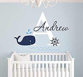 Custom Whale Name Wall Decal - Baby Whale Room Decor - Nursery Wall Decals - Nautical Wall Decals - Anchor Art Vinyl Sticker Decalzone Inc