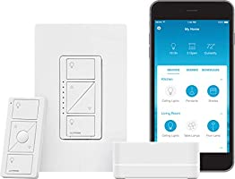 Lutron Caseta Smart Start Kit, Dimmer Switch with Smart Bridge   Works with Alexa, Apple HomeKit, and The Google...