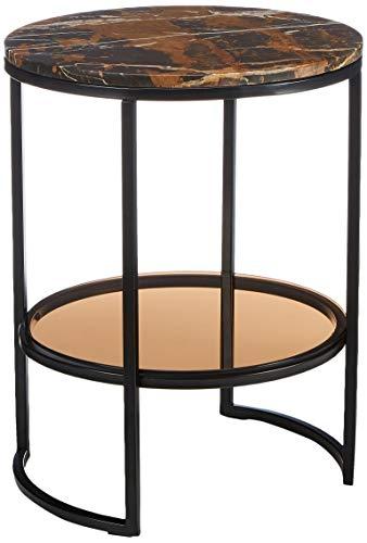 Amazon Marke - Rivet - Runder Beistelltisch mit Regalboden aus Glas, 45x45cm, Marmor/Glas