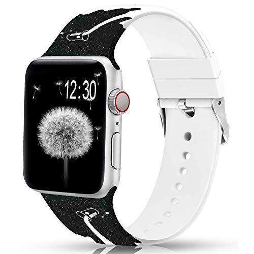 Sunnywoo bandas florales compatibles con Apple Watch Band 38 mm/40 mm/42 mm/44 mm, silicona suave sin desvanecimiento patrón impreso bandas deportivas de repuesto para iWacth Series 4/3/2/1, S/M M/L para mujeres/hombres