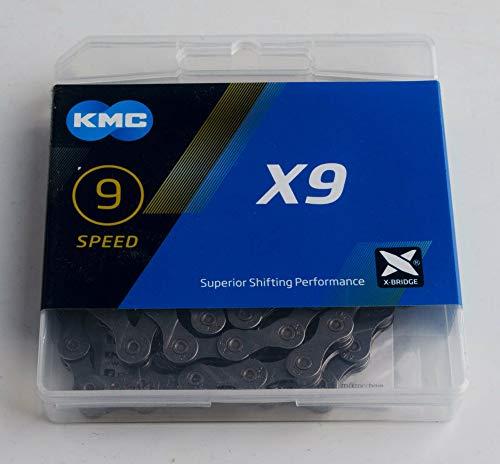 KMC X9–Catena per Bicicletta con 9velocità, Unisex Adulto, KMC-15, Grigio, 1.5 x 11 inch
