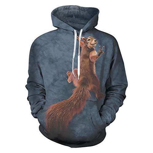 Godfai Übergrößen Sweatshirts 6XL Männer Fall 3D-Kühler Tier Eichhörnchen Druckhoodie Jacke Für Herren Crew Neck Sweatshirt Tracksuits,XXL