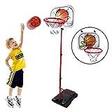 HANMUN Toddler Basketball Hoop for Kids Set Adjustable Portable Basketball Set 2-in-1 2021 Kids Basketball Stand Sport Game Play Set Net , Ball and air Pump Girl Boy Baby Sport