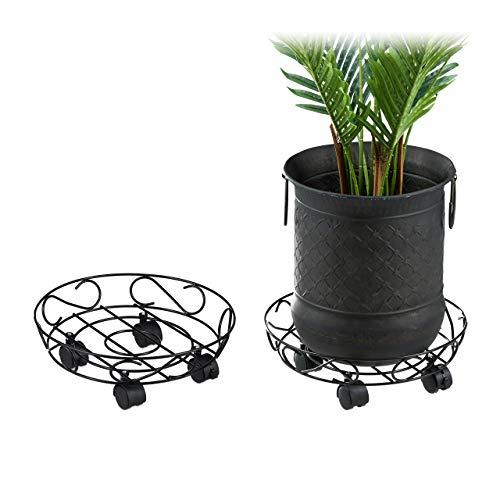 Relaxdays Pflanzenroller, 2er Set, rund, innen & außen, Bremse, Rolluntersetzer für Blumentopf bis 28cm, Metall, schwarz, 2 Stück