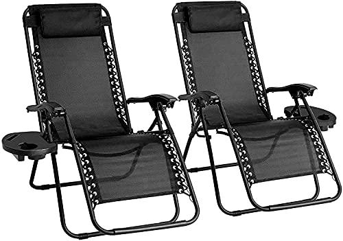 Sedie da giardino reclinabili – Set di 2 sedie a sdraio a gravità zero – sdraio da giardino e reclinabili – sedie reclinabili e pieghevoli con cuscino poggiatesta per terrazze e campeggio (verde)