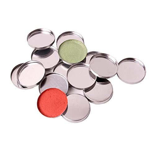 30 Pack Empty Metal Tin Make Up Pans for Magnetic Makeup Palette 26mm 36mm 48mm 50mm Cosmetic Foundation Blush Eye Shadow Organizer Pan (Round-shape (dia/26mm))