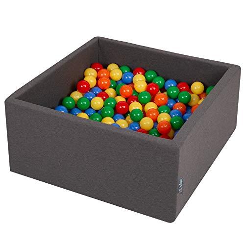 KiddyMoon Bällebad 90X40cm/300 Bälle ∅ 7Cm Bällepool Mit Bunten Bällen Für Jungs Babys Kinder Quadrat, Dunkelgrau:Gelb/Grün/Blau/Rot/Orange