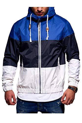 Rello & Reese Herren Jacke Windbreaker wasserabweisend Regenjacke Übergangsjacke 3-Colour-Block [Blau, XL]