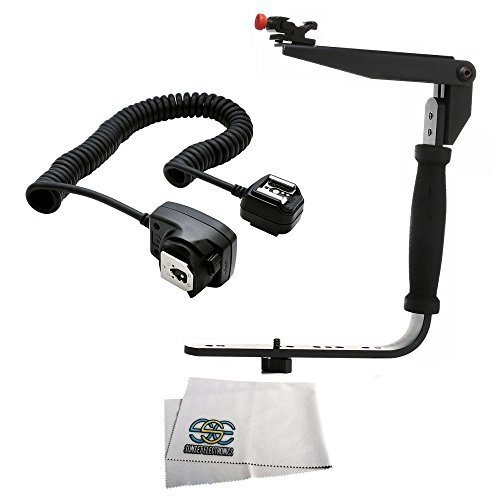 Flash Bracket Grip + TTL Off Camera Shoe Cord Nikon D3300 D3400 D5500 D5600 D7200 D7500 D600 D610 D700 D750 D800E D810 D850 Cameras W/Any Nikon SB910 SB900 SB800 SB700 SB600 SB5000 SB400 SB300 Flash