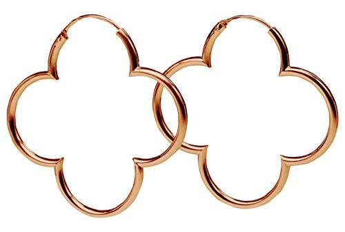 SILBERMOOS Damen Creolen rosé vergoldet Blumen Kleeblatt glänzend 925 Sterling Silber Ohrringe