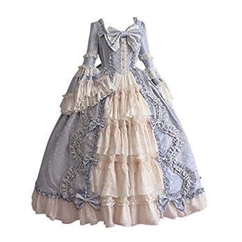 VEKDONE Women Gothic Dress Halloween Cosplay Gothic Victorian Poplin Renaissance Dress Sweet Princess Lolita Dress Blue,Medium