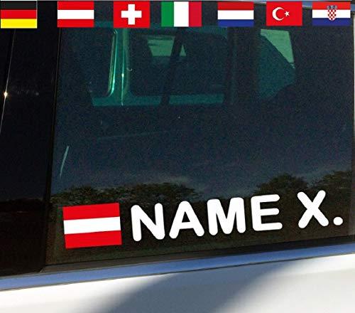 topdesignshop Fahrername Auto Aufkleber Motorsport Name Flagge Sticker Racing Namensaufkleber Wunsch Tuning Flaggenaufkleber gestalten