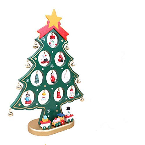 Pulchram Árbol de Navidad de Madera DIY, Colgantes de Navidad Decoraciones Soporte de Árbol de Navidad Desmontable con Adornos Navideños en Miniatura (Verde, M)