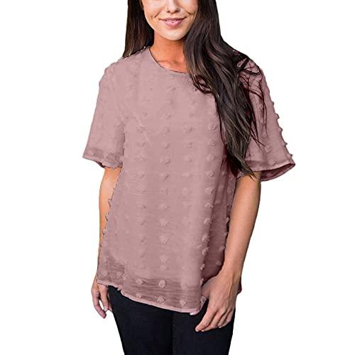 Camiseta de manga corta con cuello redondo para mujer estilo suelto casual color sólido Tops