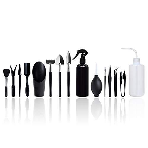 BlueMake 15-teiliges Sukkulenten-Werkzeug, Mini-Gartenhandtransplantation, Sukkulenten-Werkzeuge, Miniatur-Pflanzen-Set für drinnen und drinnen (15-teiliges Werkzeug-Set)