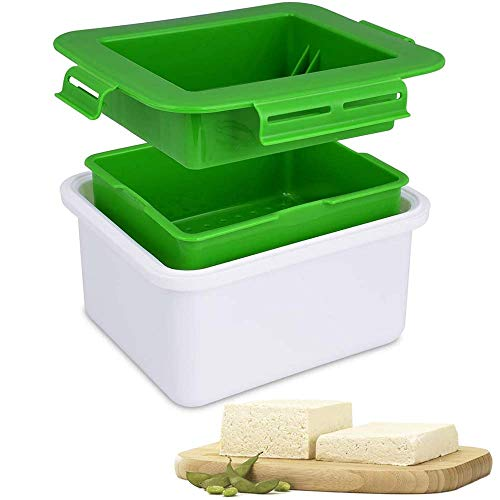 XKiss Tofu Press, Tofu Press Maker with Water Collecting Tray, Middle Strainer & Top Lid, Tofu Press BPA Free Easy to Remove Water from Tofu and Other Food for Better Taste (Green)