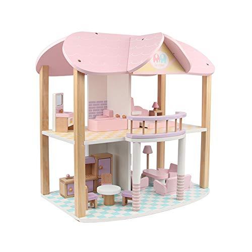 BaoYPP DIY Holzpuppenhaus Puppenhaus mit Möbel Multi-Level-Kits for Mädchen Märchen-pädagogisches Spielzeug Geburtstags-Geschenk (Farbe : Pink, Size : 45x23x45cm)