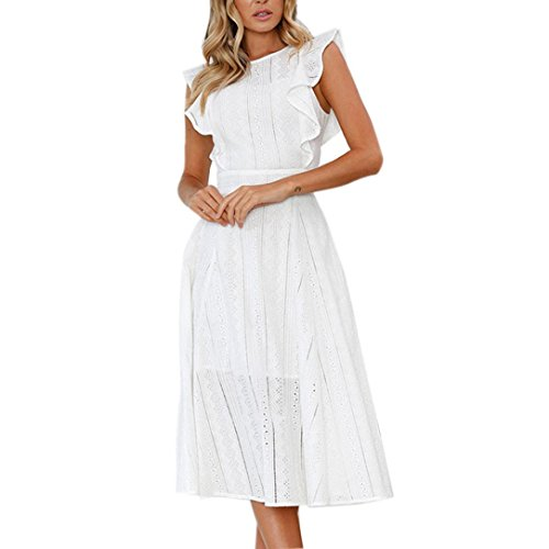 Spitze Sommerkleid Damen,Hevoiok Partykleid Sexy Casual Frauen Reißverschluss Unregelmäßige Runde Hals Strandkleid Abendkleid Midi Kleid Baumwolle (Weiß, L)