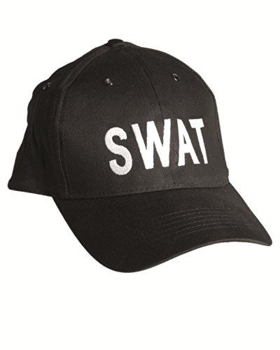 Mil-Tec Casquette brodée SWAT - Taille réglable - Snapback cap - Coloris Noir - Airsoft - Paintball - Outdoor