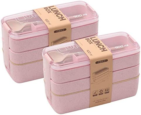 2 PACK Bento Box Japanese Lunch Box 3 In 1 Compartment Wheat Straw Leak proof Eco Friendly Bento product image