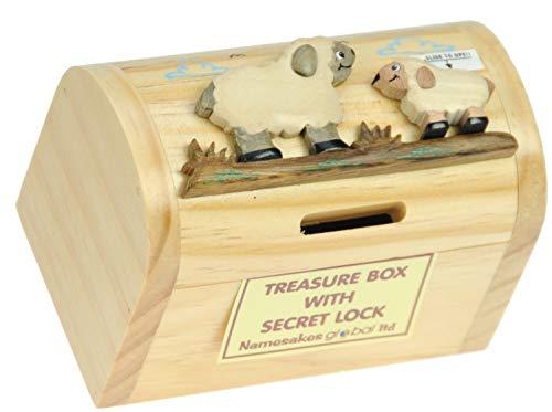 Schaf : Spardose mit Geheim Lock: Handcrafted Holz: Top Weihnachten und Geburtstag Geschenk-Idee: Qualität traditionelle Weihnachtsgeschenk für Jungen, für Mädchen, für ihn, für sie, für Kinder & For Fun Liebend Erwachsene! ( H 9,5 cm, L 12.3cm, W 7.5cm)