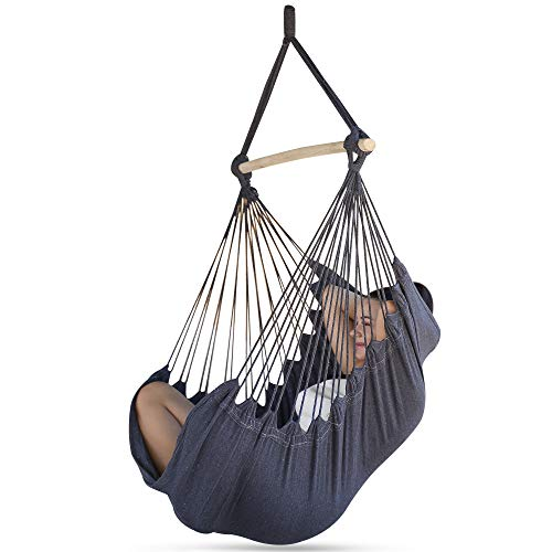 Sorbus Hammock Chair for Bedroom Indoor or Outdoor - Extra Long Swing Seat - Quality Cotton for Superior Comfort & Durability - Swinging Chairs for Yard, Porch Spaces