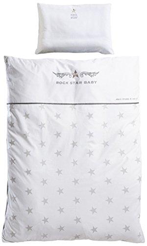 roba Bettwäsche 2-tlg, Kollektion 'Rock Star Baby 2', Kinderbettwäsche 100x135 cm, 100% Baumwolle, Decken-& Kissenbezug für Babys & Kinder