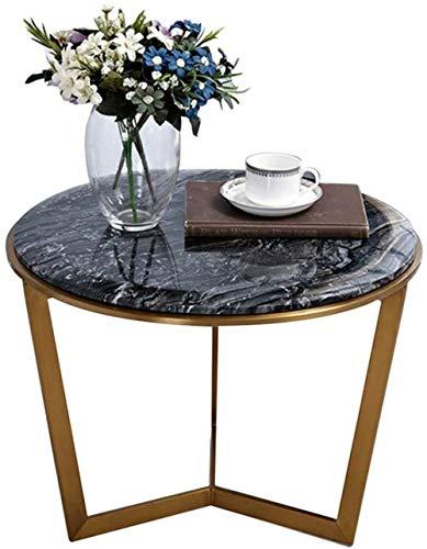 Mesa de centro de pie, mesa auxiliar de pie, pequeña mesa redonda en blanco y negro, metal de acero inoxidable, para salón, balcón, mesa de trabajo