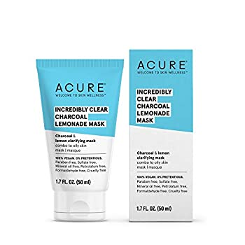 Acure Incredibly Clear Charcoal Lemonade Mask | For Oily to Normal & Acne Prone Skin | Charcoal Lemon & Clay - Draws Out Impurities | 1.7 Fl Oz