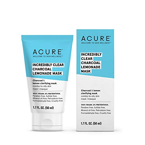 Acure Incredibly Clear Charcoal Lemonade Mask | For Oily to Normal & Acne Prone Skin | Charcoal, Lemon & Clay - Draws Out Impurities | 1.7 Fl Oz