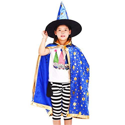 MYYXGS Halloween-Mantel, Hexenmantel, drapierter Hut des Halloween-Kostüms Kinderwachsener weiblicher Jungenkinderjungen-Mädchensatz