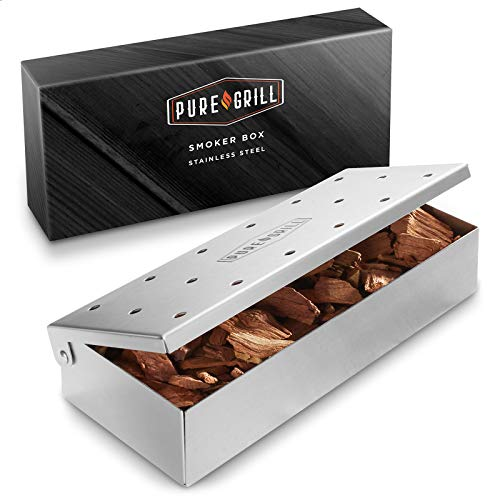 Pure Grill BBQ Smoker Box - Heavy Duty Stainless Steel with Hinged Lid for Wood Chips - Barbecue Meat Smoking for Charcoal and Gas Grills
