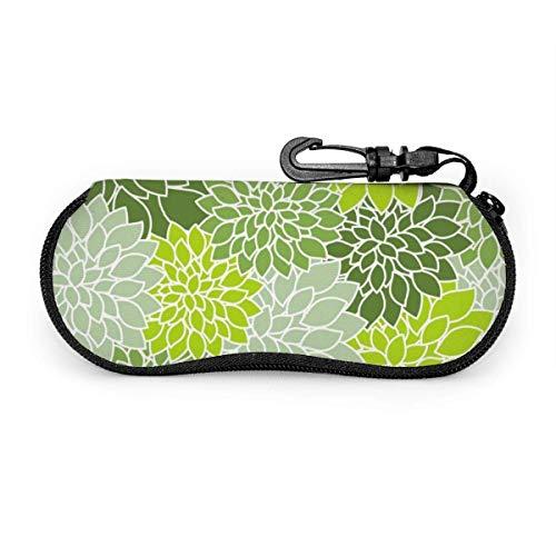 deep Light Green Flower Sunglasses with Lock Buckle Soft Bag Ultra Light Diving Fabric Zipper Glasses case