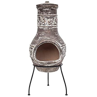 Chiminea Patio Heater in bronze colour with maple Leaf design OGD024