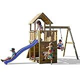 Fungoo Spielturm Carol 3 Premium Kletterturm Garten mit Holzdach inkl. Bodenanker Schaukel Blaue...