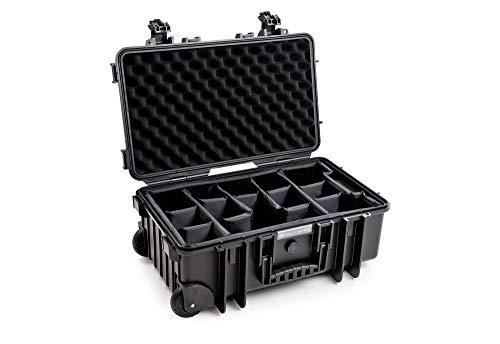 B&W outdoor.cases Typ 6600 mit variabler Facheinteilung RPD (Outdoor Koffer schlagfest, flugtauglich, Trolley für Handgepäck 55x35x22,5 cm, erfüllt IATA Bordgepäckmaß)