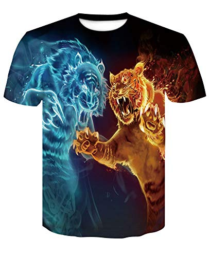 XIAOBAOZITXU T-Shirts Mannen En Vrouwen Mode Grote Maat Sweatshirts Unisex Paar Kostuums Geschilderde Tijgers Slim Fit Cool Grappige Zomer T-Shirts