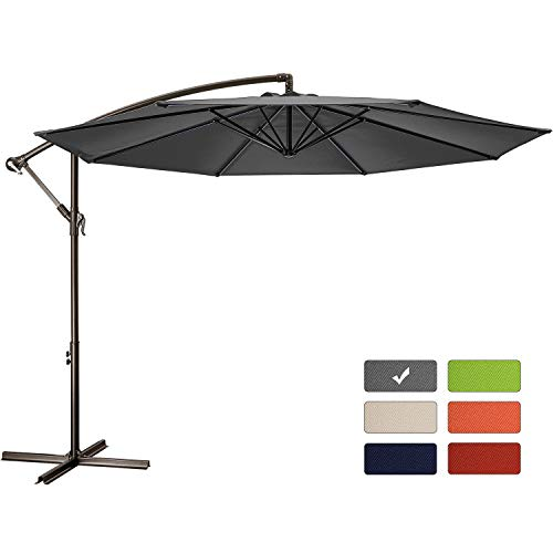 Patio Umbrella 10 ft Cantilever Offset Umbrella Outdoor Market Hanging Umbrellas Garden Umbrella & Crank with Cross Base, 8 Ribs (10 FT, Dark Gray)