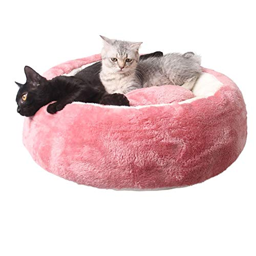ZHSHOUCHENG Hondenbed pluche donut pet bed, waterdicht ronde sofa Cats Nest bed kussen, slaapzak orthopedische verlichting en betere slaap (55 cm roze